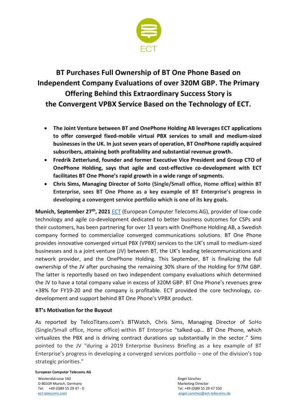 ECT BT One Phone Press Release 270921
